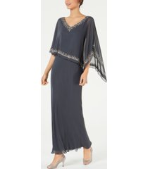 j kara bead-embellished cape gown