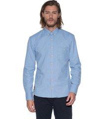 victim casual shirt met lange mouwen licht blauw