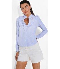 gestreepte poplin blouse met ruches, blue
