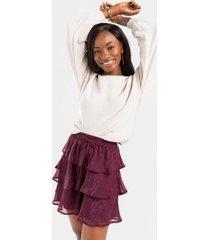 agnes ruffled mini skirt - burgundy
