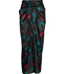 silk stretch satin knälång kjol svart ganni