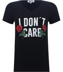 camiseta con screen cuello v color negro, talla xs