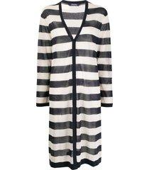 max mara horizontal-stripe cardi-coat - blue