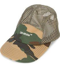 off-white logo camouflage baseball cap - green