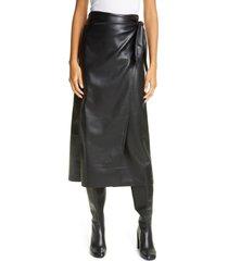 women's nanushka amas vegan leather wrap skirt, size small - black