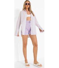 oversized gestreepte linnen overhemd met contrasterende zakken, lilac