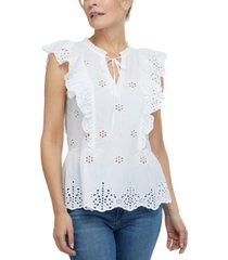 laundry by shelli segal tie-neck cotton eyelet top