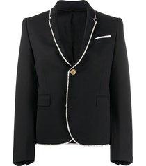 neil barrett frayed edge blazer - black