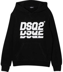 dsquared2 black hoodie with frontal logo