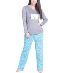 cat print long sleeve & pant pajama set