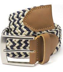 cinturón trenzado combinado beige y azul doshka