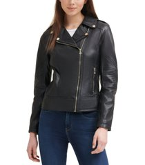 guess leather moto coat, created for macy's