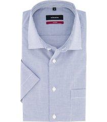 overhemd korte mouw seidensticker blauw geruit