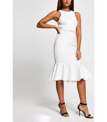 river island womens white sleeveless peplum hem belted midi dress