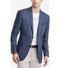 closeout! tommy hilfiger men's modern-fit navy/white windowpane linen sport coat