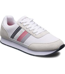 corporate material mix runner låga sneakers vit tommy hilfiger