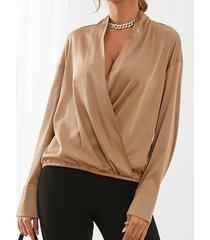camicetta casual a maniche lunghe con scollo a v profondo davanti incrociato da donna