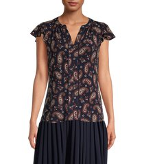 tommy hilfiger women's paisley-print flutter-sleeve top - midnight multicolor - size s