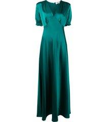dvf diane von furstenberg v-neck ruched cuff dress - green