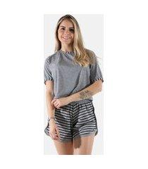 pijama liso short listrado linha noite 381