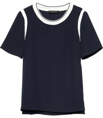 blusa rib trim crew top azul banana republic