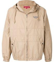 supreme hooded raglan jacket - brown