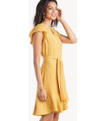 1. state women's short sleeve bttn down asymmetrical ruffle dress gold sun size 8 from sole society