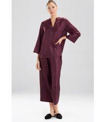 animal jacquard mandarin pajamas, women's, pink, size xs, n natori
