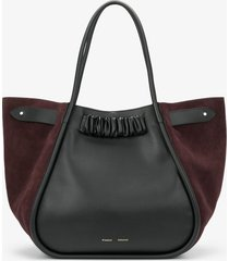 proenza schouler xl suede ruched tote black/chocolate plum one size
