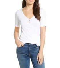 women's caslon henley tee, size xx-large - white