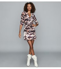 reiss orla - ikat printed mini dress in berry, womens, size 14