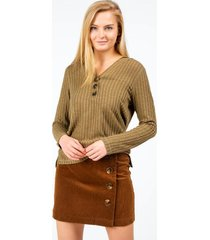 rayven hooded henley top - sage