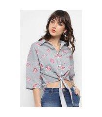 camisa colcci listrada flores amarração feminina