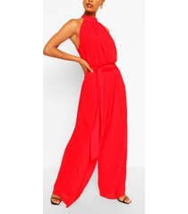 high neck jumpsuit, red
