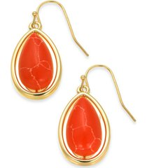 alfani gold-tone stone drop earrings, created for macy's
