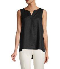 pure navy women's sleeveless linen top - black - size xl