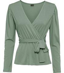 maglia a maniche lunghe con cintura (verde) - bodyflirt