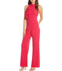 women's eliza j high neck wide leg crepe jumpsuit, size 8 - pink