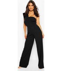one shoulder wide leg jumpsuit, black