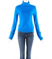 sies marjan blue wool knit ruched turtleneck sweater blue sz: xs