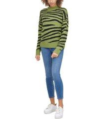 calvin klein jeans cotton zebra-print sweater