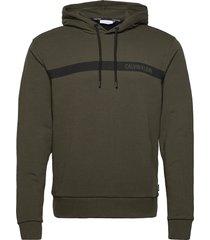 bold stripe logo hoodie hoodie trui groen calvin klein