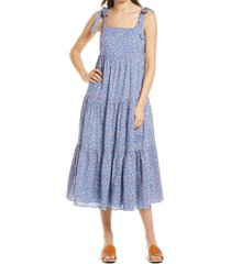 women's madewell tie strap tiered midi dress, size large - blue
