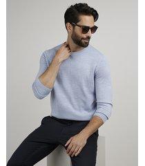 suéter masculino em tricô gola careca azul claro