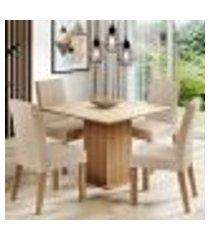 conjunto sala de jantar madesa evelin mesa tampo de vidro com 4 cadeiras - rustic/crema/imperial