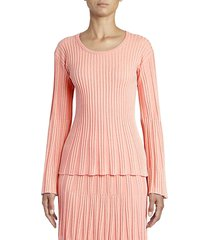 kenzo women's lurex ribbed knit bell-sleeve sweater - flamingo pink - size l