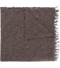 faliero sarti micro-plaid scarf - brown