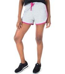 shorts moletinho calvin klein contraste - feminino - cinza cla/rosa