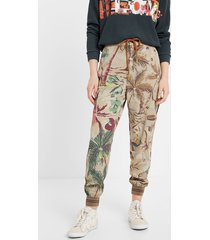 floral tencel™ cargo trousers - brown - xl