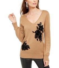 inc velvet applique sweater, created for macy's